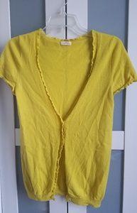 J Crew ruffled yellow cashmere cardigan